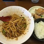 54130793 - 汁無し坦々麺+唐揚げセット