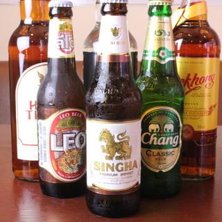 ◆本場タイのビール、ワイン、ウイスキーご用意してます