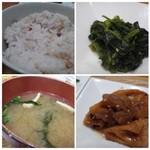 54145806 - ◆小鉢は「鶏肉と蓮根の煮物」と「ほうれん草の和えもの」◆ご飯は「十六穀米」をチョイス