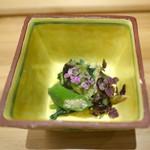 いしづか - 九条葱と焼きサバ、烏賊、貝の和え物