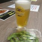 はまのだいどころ - 2杯目のビールと枝豆
