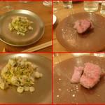 エスパイ クック コウベ - 太刀魚とエシャロット、イタリアンパセリ、レモン風味パスタ!(これ絶品でした)       黒毛和牛のランプステーキ・・柔らかで旨みをカラメルコートで閉じ込めた・・