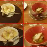 エスパイ クック コウベ - 蒸し鮑の肝バターソース、ホタテ貝柱のグラタン・・