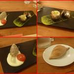 エスパイ クック コウベ - 鯖のタルタル(鯖、エシャロット、イタリアンパセリ)カリーフラワーのスースとスモモのゼリー添え、鰯の香草パン粉焼きグリーンペッパーソースで・・
