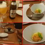エスパイ クック コウベ - 先ずは生ビール・コーンのムース、雲丹、コーン、スナップ豌豆トッピング!