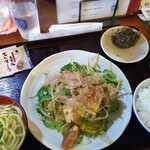 Okinawadainingunagomi - (2016/7  訪問)ゴーヤチャンプルー定食。ミニサイズの八重山そば付きで900円。