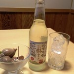 54194758 - イチハラ梨サイダー350円。                       一緒に妻の頼んだお酒に付いてきたお通しの貝。