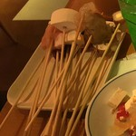 54196793 - 揚げる前の串たち