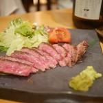 中俣酒造 茂助 - 黒毛和牛のザブトンレアステーキ