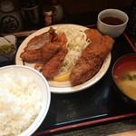 三河屋 - 三河屋(海老フライ定食+メンチカツ追加)