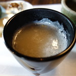 侘助 - 椀代わり:特製蕎麦湯(桜花、あられ)
