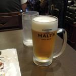 もつ真路 - レシートを見ると199円の生ビール、しかもこれだけ税別表示・・・