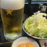 君津北口の串屋横丁 - 生ビールとお通し。味噌マヨネーズヤバい