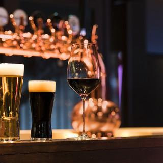 9タップのクラフトビール!ワイングラス20種類以上!