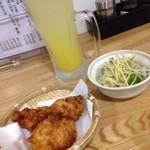 そば居酒屋太閤 - 晩酌セット(シークワーサーサワー、からあげ、かつおのたたきポン酢)