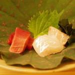 鮨 よし田 - 鮪と鱸のお造り