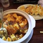 54253088 - 焼餃子と麻婆豆腐鍋巴(マーボー豆腐おこげ〔辛口〕)