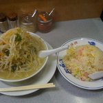 味の横綱 - タンメン(太麺)とチャーハン。あわせて1,210円