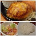 54298748 - *ハンバーグは、最後にお湯をかけられていましたので、ナイフを入れると肉汁と共に溢れてきます。◆サラダ・・キャベツ多め。                       ◆ご飯は普通。