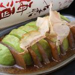 東京焼酎&梅酒bar GEN&MATERIAL - 漬けマグロとアボガドの重ね重ね