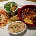 オーブン亭 - ダブルチーズのトマトソースパスタとオムライスグラタン