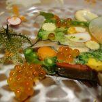 GINA - オマール海老と鮑、夏野菜のテリーヌ 柚子香る西京味噌のディップ