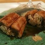 54382630 - 先付けは鰻の手鞠寿司