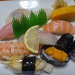 奈加山寿司 - 料理写真:*「あげ巻貝」「鮭」「中トロ」「鯛」「カンパチ」「烏賊」「海老」「ウニ軍艦」「鉄火巻き」「玉」など。 どのネタも新鮮でこのお値段で頂く品としては十分だそう。