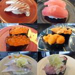 54392915 - 食べた寿司の一部_真あじ、本マグロ赤身、いくら、ウニ、いわし、ねぎとろ_2016-07-09