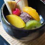 縁側カフェ - 餡蜜(あんみつ)、獼猴桃(きうい)