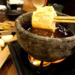54393733 - 【味噌フォンデュ】よもぎ麩・蒟蒻・厚揚げ・長芋の具材の食感が楽しめてGood!