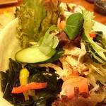 貴心 - オニオンスライスと蒸し鶏のサラダ