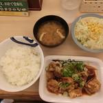 松屋 - (2016.8) 鶏のバター醤油炒め定食630円
