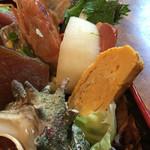 菊寿司 - 牡蠣の殻をどけたらこんなにもりもりにネタがお目見え!!