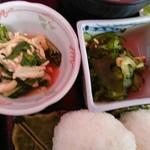 54427950 - キュウリの酢の物と小松菜の炊いたん