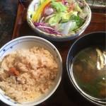 米寿 - 小名浜伴助のサバ 一夜干し 御膳 ¥1,100 ご飯・味噌汁・サラダ