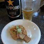 らーめん丸富 - ビール(中ビン)&おつまみ(メンマ)2016.7.31