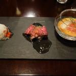 54455019 - 前菜:真鯛のカルパッチョ、短角牛の冷製、ガスパチョ
