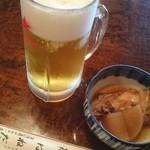 羽田うなぎ店 - 生ビール・お通し。