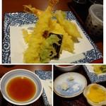 酒蔵レストランたから - ◆天ぷらは「海老2尾」「ズッキーニ」「茄子」「鶏」「キスなどが盛り合わせられ、カラッと揚げられていますね。 「天つゆ」や「またいちの塩」などで頂きます。 揚げたてですので、美味しい・・