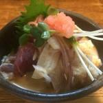 ふうすけ - 2016/08/04・お通し・鰹・鱧子・茗荷・カイワレ・胡麻ポン酢・大葉を添えて紅葉おろしを乗せて
