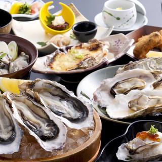 いかだ荘 山上 - メニュー写真:的矢牡蠣料理Aコース 7000円   Bコース6000円※牡蠣料理は10月中旬より