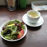 MIRAI restaurant&cafe - 野菜サラダ、スープ(パスタランチ付属)