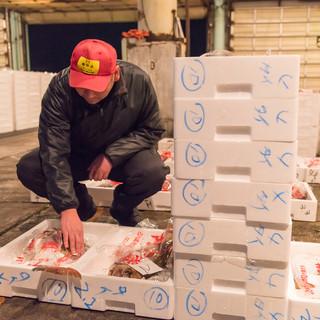 プロフェッショナルが目利きして仕入れる新鮮魚介。
