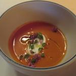 54497474 - トマトと野菜のスープ モッツァレラチーズ 紫蘇の花