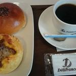 デリフランス - 料理写真:キーマカレー&ポテト ずっしりあんぱん ブレンドコーヒー