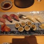 樽寿司  - 握り(お好みで注文)鯖、金目鯛、新子、イカ、赤貝、ヤマゴボウ巻き