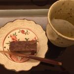 由庵 矢もり - ⑨蕎麦蒸し羊羹と韃靼蕎麦茶
