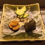 由庵 矢もり - ⑤お漬物盛り合わせ(大豆の酢浸け・獅子唐辛子の佃煮・ズッキーニの茗荷和え)
