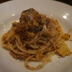 54515742 - 稚鮎と葱とトウモロコシのスパゲッティ